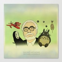 miyazaki Canvas Prints featuring Hayao Miyazaki by Borja Espasa