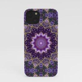 Amethyst and Gold Kaleidoscope  Mandala iPhone Case