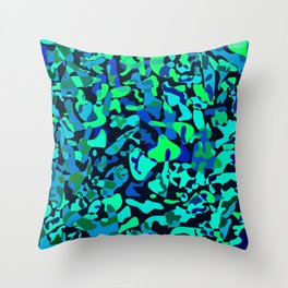 Intersecting delicate on colored spots and splashes of dark blue paints. Throw Pillow