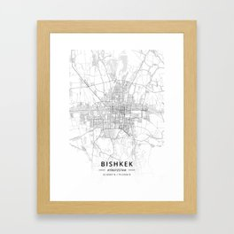 Bishkek, Kyrgyzstan - Light Map Framed Art Print