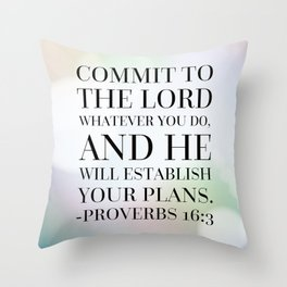Proverbs 16:3 Bible Quote Throw Pillow
