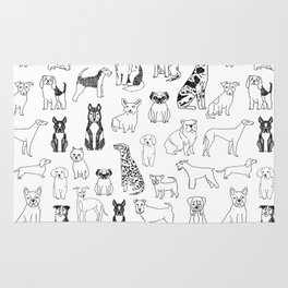 Dogs pattern minimal drawing dog breeds cute pattern gifts by andrea lauren Rug