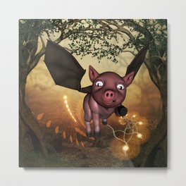 Funny little piglet with wings Metal Print