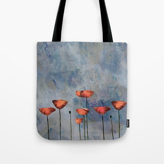Poppyfield against the blue sky- abstract watercolor artwork Tote Bag