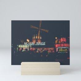 Moulin   Rouge   Paris at night #2 Mini Art Print