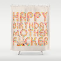 happy birthday Shower Curtains featuring Happy Birthday by Vickn
