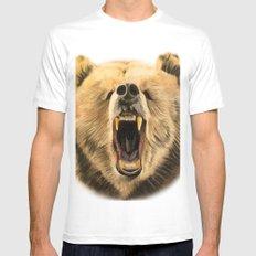 Roaring Bear MEDIUM White Mens Fitted Tee