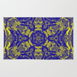 Abstract kaleidoscope of wattle blooms on textured background Rug