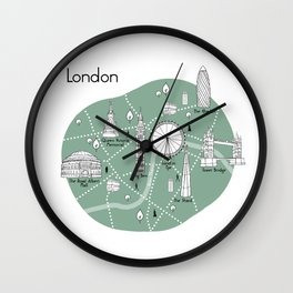 Mapping London - Green Wall Clock