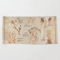 Herbology Reference Chart (Hogwarts) Beach Towel