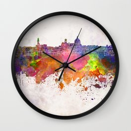 Florence skyline in watercolor background Wall Clock