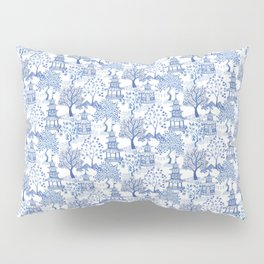 Pagoda Forest Blue and White Pillow Sham