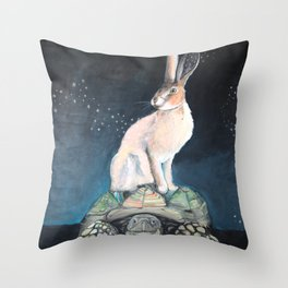 Midnight Tortoise and Hare Throw Pillow