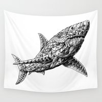 bioworkz Wall Tapestries featuring Great White by BIOWORKZ