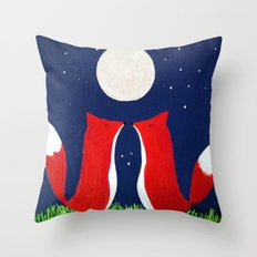 Two Foxes in the Moonlight Throw Pillow