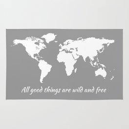 Inspirational Quote + Gray World Map Rug