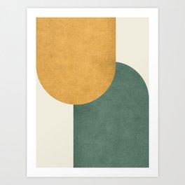 Halfmoon Colorblock 2 - Gold Green  Art Print