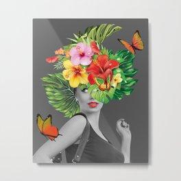 woman floral Metal Print