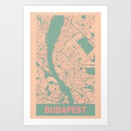 Budapest, Hungary, city map, Apricot Art Print