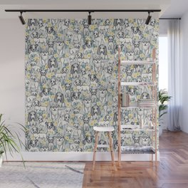 Dogs and Daisies on Grey Wall Mural