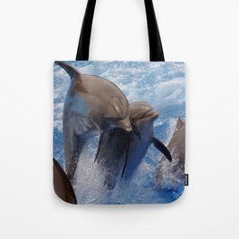 Dolphins jump Tote Bag