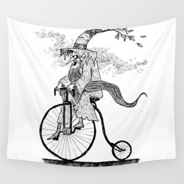 Forest Wizard on a Bike Wall Tapestry