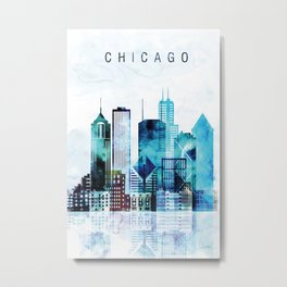 Chicago Illinois Cityscape Metal Print