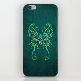 Intricate Teal Blue Vintage Tribal Butterfly iPhone Skin