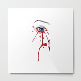 Blue eye with red paint Metal Print