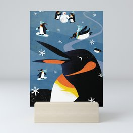 Penguins in the Snow, Holiday Mini Art Print