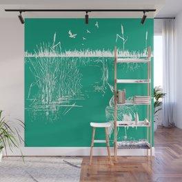 Oriental Exotic Heron & Boirds on a Lake Print - Emerald Green Wall Mural