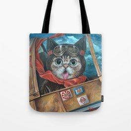 Lil Bub Takes Flight, cute cat art, oil painting portrait, flying plane in sky, kitty, kitten Tote Bag
