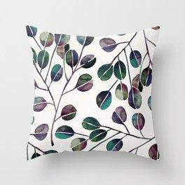 Silver Dollar Eucalyptus – Deep Cool Palette Throw Pillow