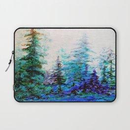 Mountain Landscape Pines In Blue-Greens-Purple Laptop Sleeve