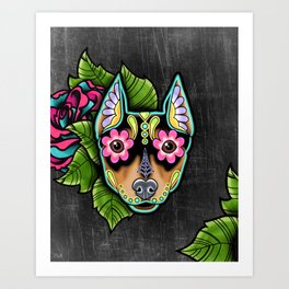 Min Pin Day of the Dead Miniature Doberman Pinscher Sugar Skull Dog Art Print