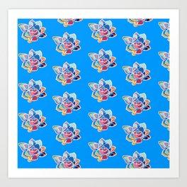 Blue succulent pattern Art Print