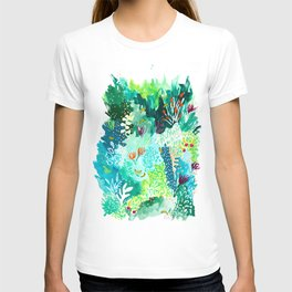 Twice Last Wednesday: Abstract Jungle Botanical Painting T-shirt