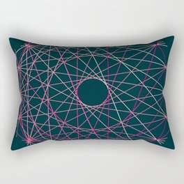 Red Threads in Blue Rectangular Pillow