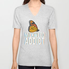 Monarch Butterfly design Gift for Milkweed Plant Lovers Awareness Unisex V-Neck