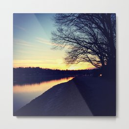 winter sunset over reservoir Metal Print