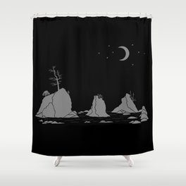 Moon Over Three Graces Grey on Black Shower Curtain