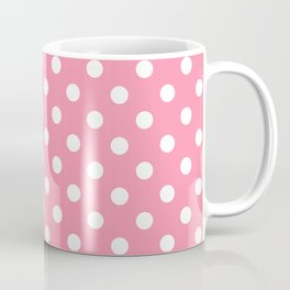 Small Polka Dots - White on Flamingo Pink Coffee Mug