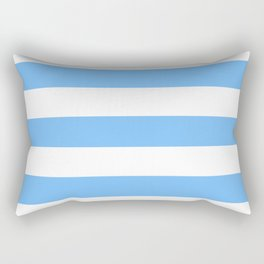 Very light azure - solid color - white stripes pattern Rectangular Pillow