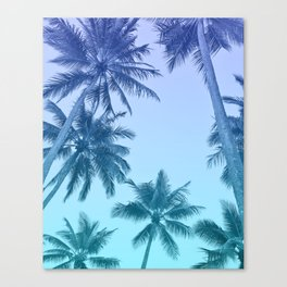 Palm Trees - Teal Gradient Canvas Print
