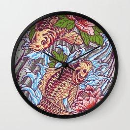 Japanese Koi Lotus Wall Clock