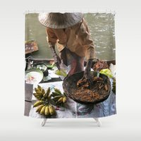 thailand Shower Curtains featuring woman in thailand by habish