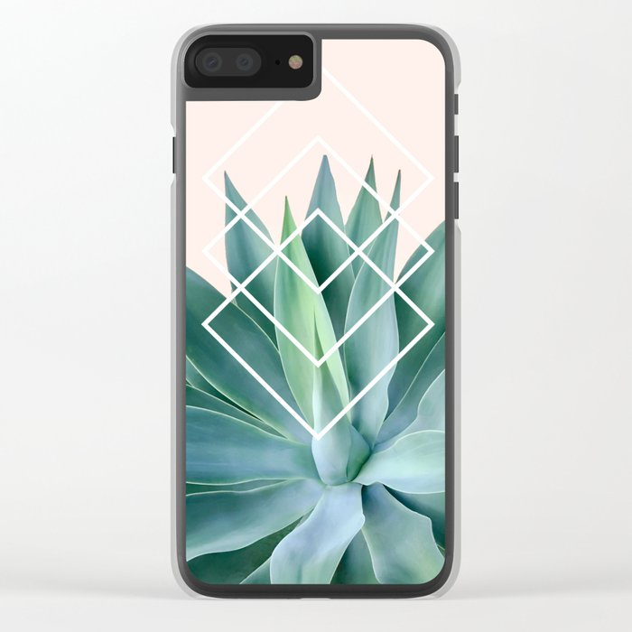 Agave geometrics - peach Clear iPhone Case