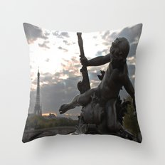 Angels in Paris Throw Pillow