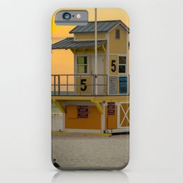 Yellow Beach Sunrise Lifeguard Hut Print Gifts iPhone Case