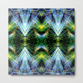 Blue Green Bright Rays,Fractal Art Metal Print
